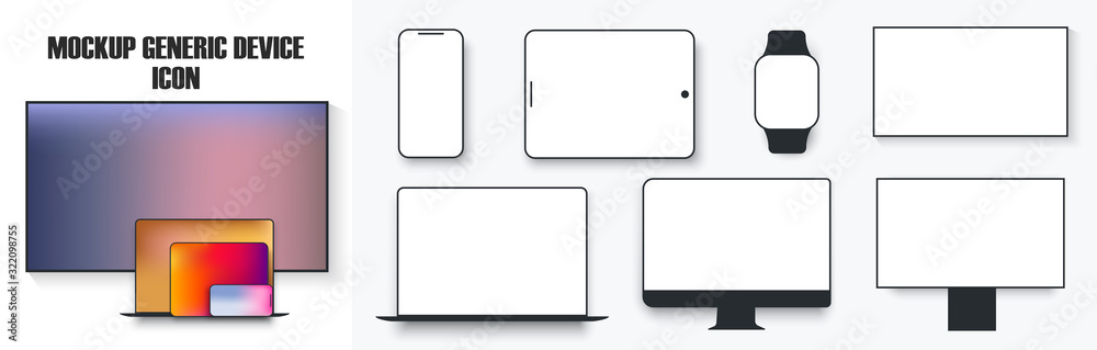 Fototapeta White desktop computer display screen smartphone tablet portable notebook or laptop and tv icon. Outline mockup electronics devices phone monitor lines simple isolated vector set. Mockup device
