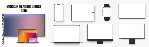Fotomural White desktop computer display screen smartphone tablet portable notebook or laptop and tv icon