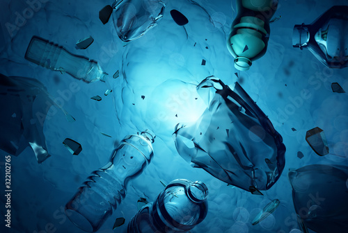 Plastic human waste including plastics bags floating in the open ocean. Water pollution 3D illustration. - 322102765