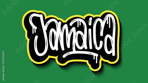 Jamaica Hand Lettering Graffiti Tag Style Sticker Design. Poster Mural XXL