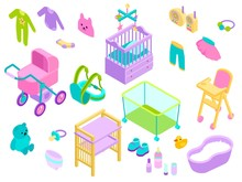 Baby Girl Kid Accessories Vector Illustration. Babies Toys, Clothes And Bath Newborn Care Collection. Babygirl Feed, Play, Dress And Carriage Cartoon Items Set Isometric Style On White Background.