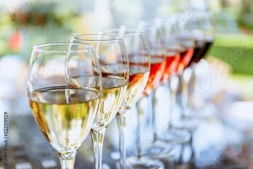 Cuadros en Lienzo Wine tasting set in the light summer environment