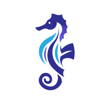 Sea Horse Creative Vector Illustration,Sea Animal Color Icons In Trendy Flat Style