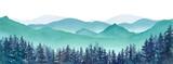 霧の山々と針葉樹林の風景パノラマ 水彩イラストのトレースベクター、レイアウト変更不可