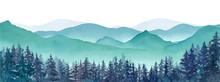 霧の山々と針葉樹林の...