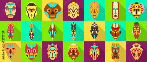 African mask flat set icon Canvas Print