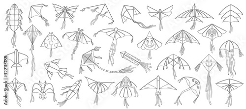 Obraz na plátně Flying kite vector illustration on white background