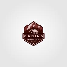 Vintage Cabins Logo Vector Ill...