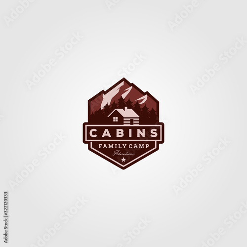 Photo vintage cabins logo vector illustration design