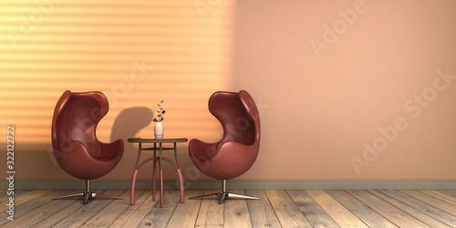 projekt wnętrza ze światłem słonecznym szablon pusta ściana classic blue kolor roku 2020 rendering 3d - fototapety na wymiar