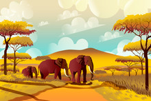 A Group Of Elephants In The Savannah Against A Background Of Acacias And Mountains In A National Park In Africa.