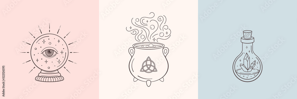 Fototapeta Witch and magic symbols with crystal ball, magic crystal bottle, cauldron. Monochrome vector illustration, isolated on white background