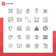 Pack of 25 Universal Outline Icons for Print Media on White Background.