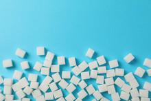 Sugar Cubes On Blue Background...