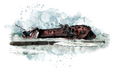 Watercolor Seascape With Old Wrecked Tanker Ship. Watercolor Modern Illustration