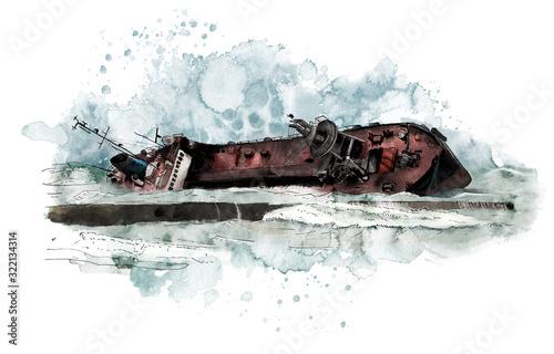 Carta da parati Watercolor Seascape with old wrecked tanker ship