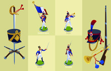 Napoleon's Grenadiers French Soldiers And Officer Set Isometric Icons On Isolated Background