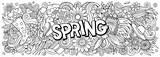Fototapeta Młodzieżowe - Spring hand drawn cartoon doodles illustration. Line art vector banner