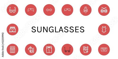 sunglasses simple icons set Canvas Print