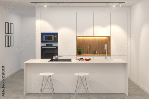 3d render of modern white kitchen with island front Canvas Print