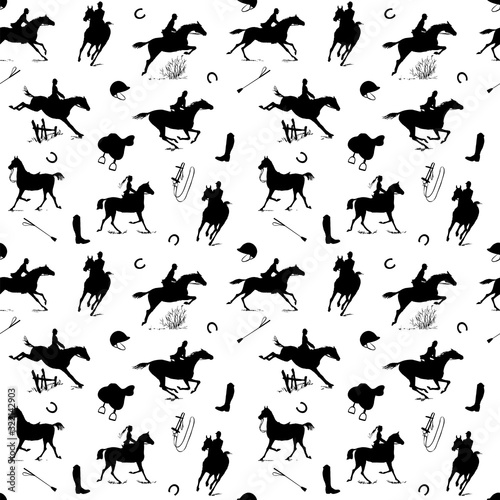 Fotografía Equestrian horse riding style silhouette seamless pattern