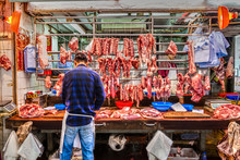 Outdoor Butcher's Shop On Gage Street In The Central District Of Downtown Hong Kong, China