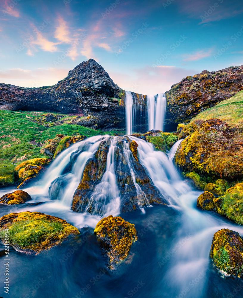 Fototapeta Breathtaking summer sunrise on Sheep's Waterfall. Stunning morning scene of Iceland, Europe. Beauty of nature concept background.