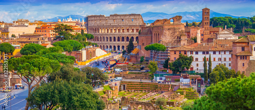 cityscape of Rome city, Italy. aerial view Canvas Print