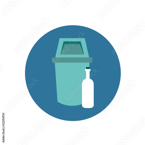 Fototapeta waste bin with bottle icon obraz