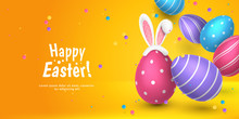 Vector Cute Horizontal Greeting Banner With Fur Ears Of Bunny, Realistic 3D Eggs, Colored Paper Confetti On Orange Background. Festive Cartoon Template With Text Happy Easter For Holiday Flyer.