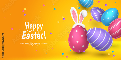 Foto Vector cute horizontal greeting banner with fur ears of bunny, realistic 3D eggs, colored paper confetti on orange background