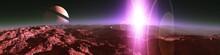 A Star Rises Above A Planet, A...