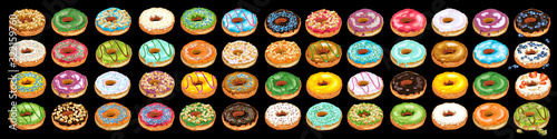Set of colorful glazed donuts with sprinkles Canvas Print