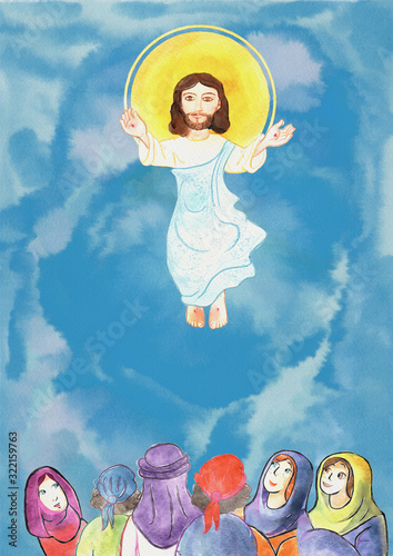 Photo Ascension of Jesus. Bible story for children, watercolor.
