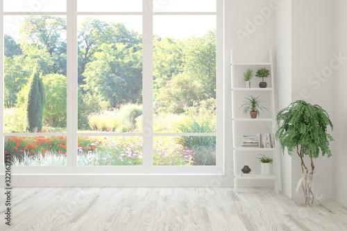 Obraz Stylish empty room in white color with summer landscape in window. Scandinavian interior design. 3D illustration - fototapety do salonu