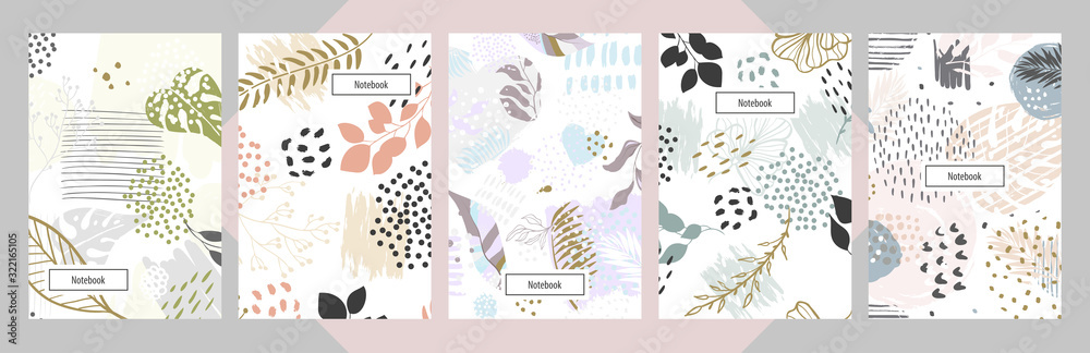 Modern abstract floral art vector notebook background.