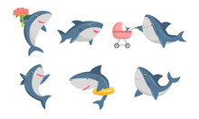 Set Of Cute Humanized Shark In...
