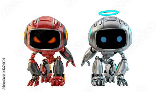 Платно Two warring little robotic toys, 3d rendering with silver angel and red devil bo