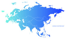 Eurasia Countries Map. Vector Of Eurasia Map. Europe And Asia Continente Map.