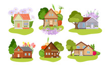 Set Of Different Country House...