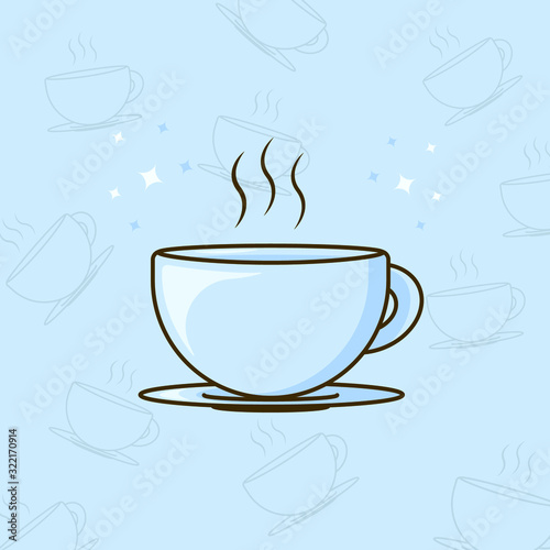 Flat design vector illustration of coffee cup with cartoon style. Canvas Print