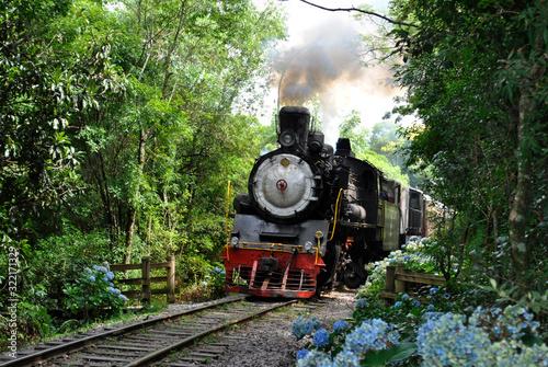 Stampa su Tela old steam train on the railway