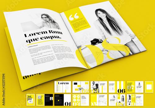 Fototapeta Yellow and Black Magazine Layout obraz