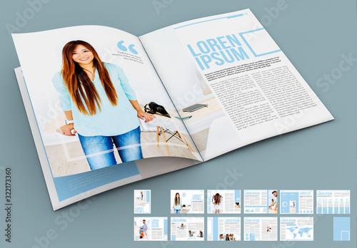 Fototapeta Light Blue and White Presentation Layout obraz