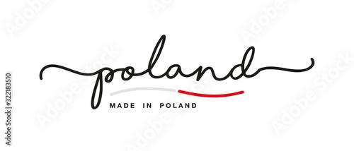 Fototapeta Made in Poland handwritten calligraphic lettering logo sticker flag ribbon banner obraz