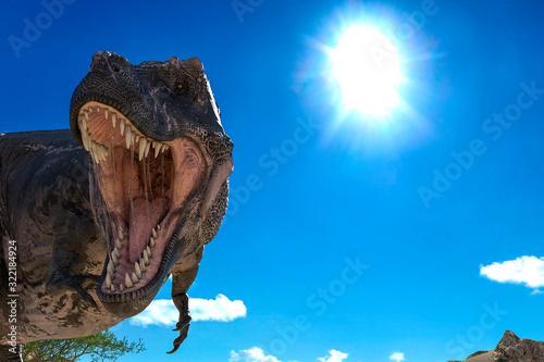 Fototapeta tyrannosaurus found somothing on desert close up with copy space