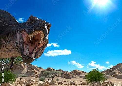 Fotografie, Obraz tyrannosaurus found the camera on desert