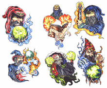 Wizard Oldskool Tattoo Set