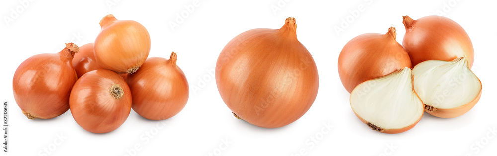 Fototapeta yellow onion isolated on white background close up. Set or collection