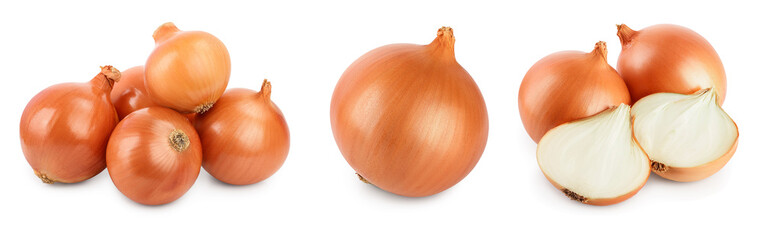 yellow onion isolated on white background close up. Set or collection